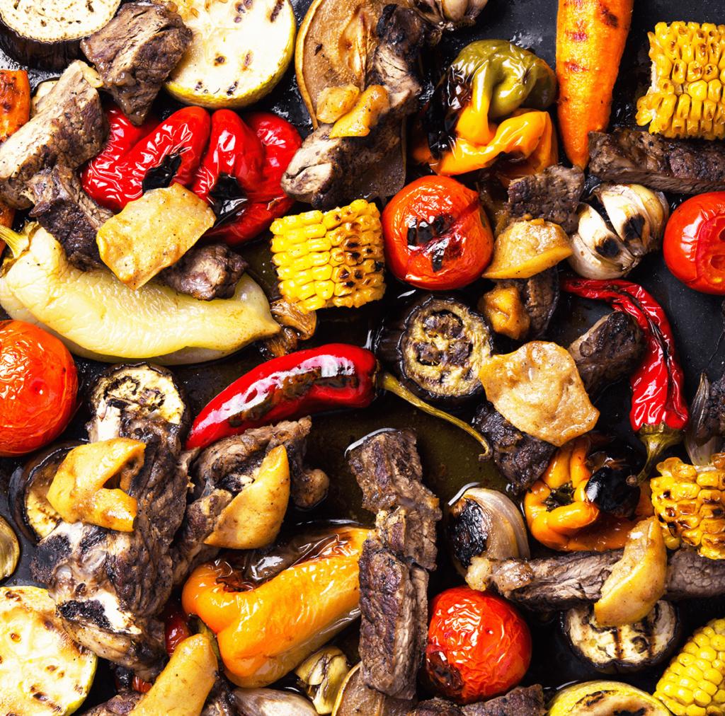 grillowane warzywa i mięso