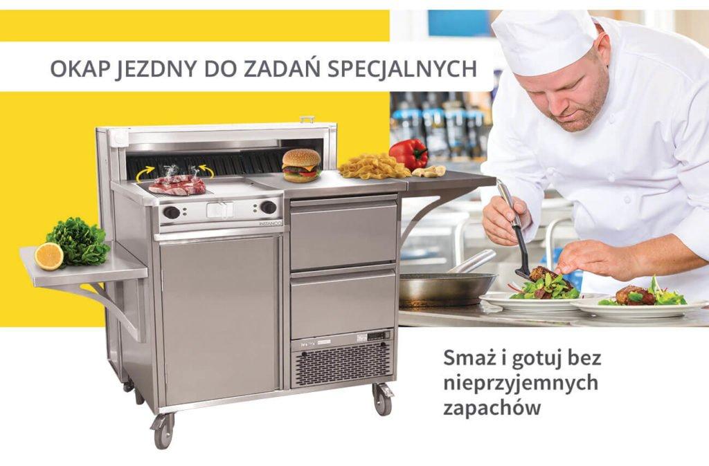 okap jezdny i stacja live cooking
